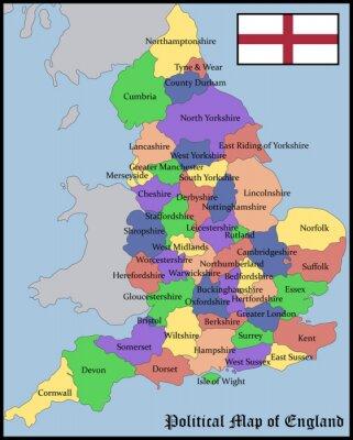 Polityczna Mapa Anglii Fototapeta Fototapety Polityczny Europa