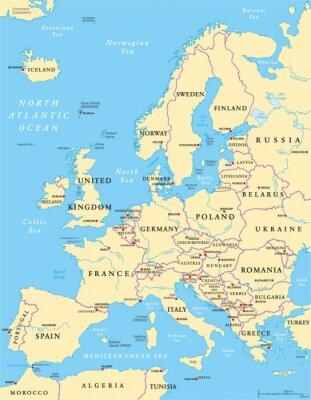 Fototapeta Polityczna mapa Europy