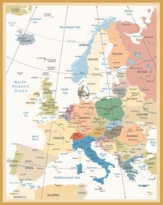 Fototapeta Polityczna mapa Europy kolorach retro