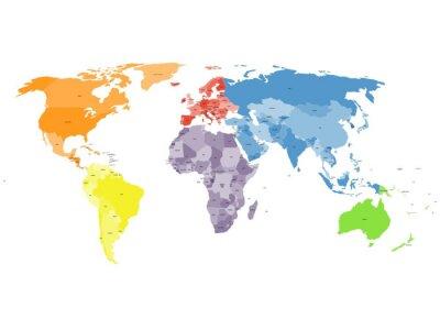 Fototapeta Polityczna mapa świata na białym tle.