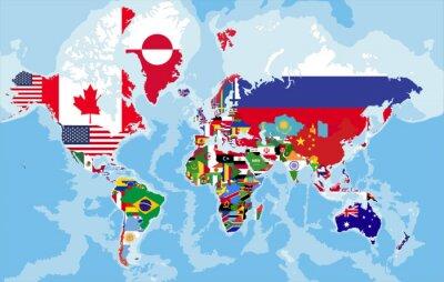 Fototapeta Polityczna mapa świata z flagami państw.
