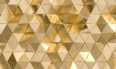 polygonal background with triangular shapes in gold.