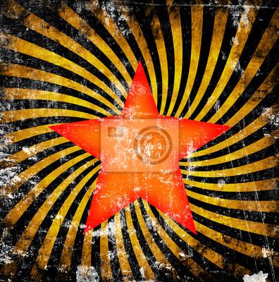 Fototapeta Pomarańczowy gwiazda z kręcić na tle grunge