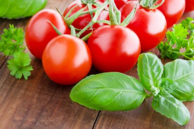 Fototapeta Pomidory i bazylia