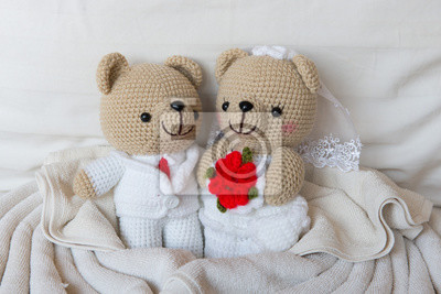 56fab9e49a909b Fototapeta ponosi lalki miłości, niedźwiedzie zabawka z wesele, dwa  pluszowe misie na th