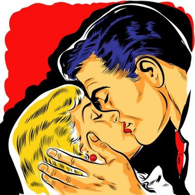Fototapeta pop art couple amoureux baiser dessin couleur