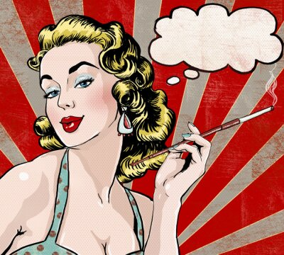 Fototapeta Pop Art kobieta z dymka i papierosów.