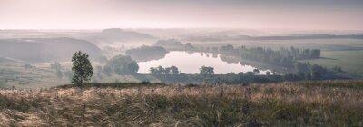 Fototapeta Poranna mgła i jezioro