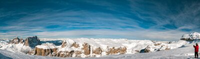 Fototapeta Pordoi Dolomitach panorama krajobraz