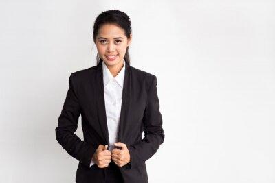 Fototapeta Portret młodych azjatyckich piękne Los, pewność, patrząc na białym tle