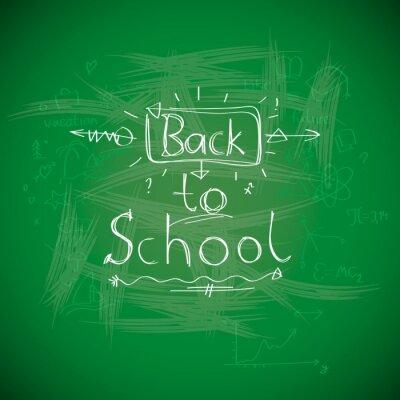 Fototapeta Powrót do szkoły, chalkwriting na tablicy, vector Eps10 obrazu.