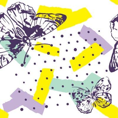 Fototapeta Powtórny wzór z owadami. Modny wzór z motyle w stylu wyciągnąć rękę. Tło dla tekstyliów, produkcji, okładek książek, tapet, nadruku lub prezentów.