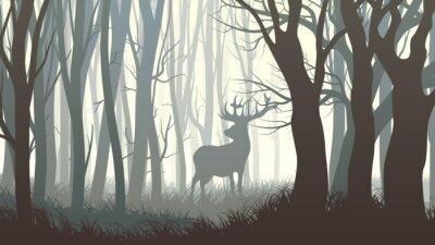 Fototapeta Poziome ilustracji dzikie łosie w drewnie.