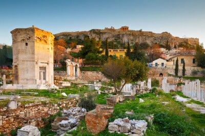 Fototapeta Pozostałości rzymskiego Agora i Akropol w Atenach, Grecja.