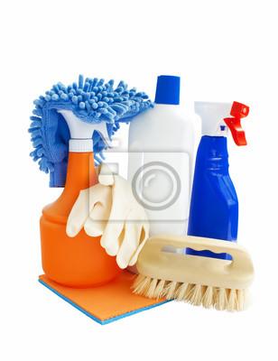 Fototapeta produkty czyszczące samodzielnie na białym tle