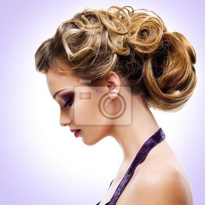 Fototapeta Profil Portret kobiety z mody Fryzura