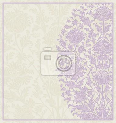 Fototapeta projekt karty ślub, Paisley kwiatowy wzór, Indie