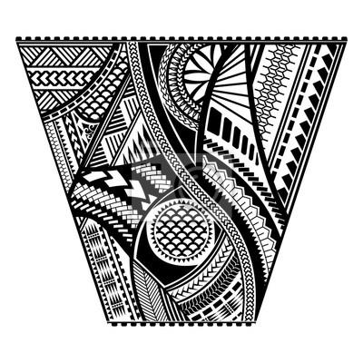 Fototapeta Projekt Koszulki Polinezyjskiej Stylu Tatuaż Wektor Szablon