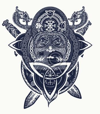 Fototapeta Projekt Koszulki Wojownika Wikinga Celtycki Amulet Wymusza Tatuaż