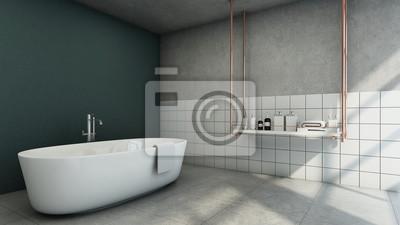 Fototapeta Projekt łazienki Nowoczesne I Loft Zielone Płytki ścienne Betonowe