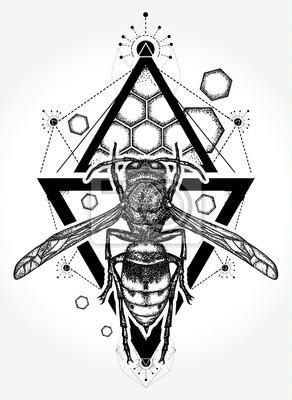 Fototapeta Projekt Tatuażu I T Shirt Symbol Wolności Lotu Tatuaż Wasp