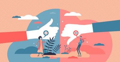 Fototapeta Pros and cons advantage comparison tiny persons concept vector illustration.