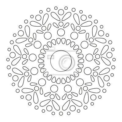 prosta mandala round element for coloring book czarne linie CL Element round element for coloring book czarne linie na bia ym tle