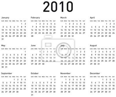 naptár 2010 es Proste kalendarz na rok 2010. wektorowych w formacie. Fototapeta  naptár 2010 es