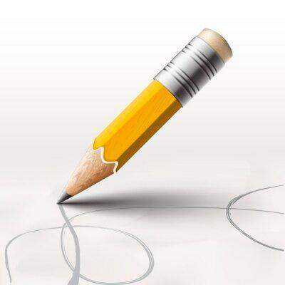 Fototapeta Proste Ołówek na białym tle, ilustracji wektorowych eps10.