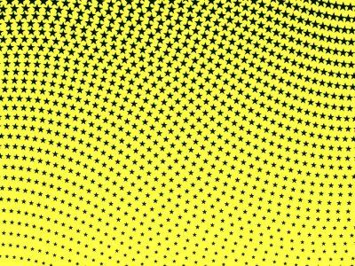 Fototapeta Proste retro faliste półtonów czarnych gwiazd na żółtym ba