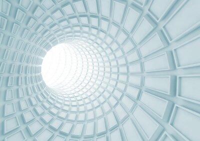 Fototapeta Przechodząc niebieskim tunelu wnętrze z wytłaczanych płytek