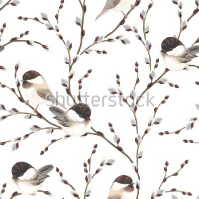 Fototapeta Przechowywać wzór wierzbowe gałąź i ptaki Pokrywający Chickadee, ilustracji na białym tle w różnych akwareli stylu.