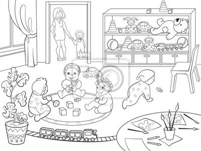 Przedszkole Kolorowanka Dla Dzieci Kreskowki Ilustracji