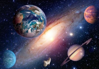 Fototapeta Przestrzeń planeta Droga Mleczna Ziemia Mars Saturn wszechświat astronomia układ słoneczny. Elementy tego zdjęcia dostarczone przez NASA.