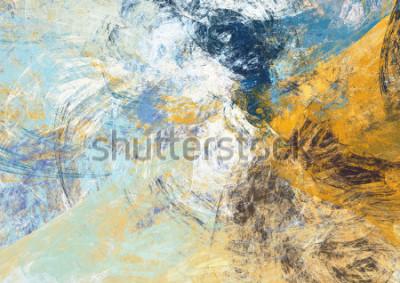 Fototapeta Przesunąć piękny niebieski i żółty miękki kolor tła. Dynamiczna tekstura malowania. Nowoczesny futurystyczny wzór. Fraktalna grafika do kreatywnego przetwarzania graficznego