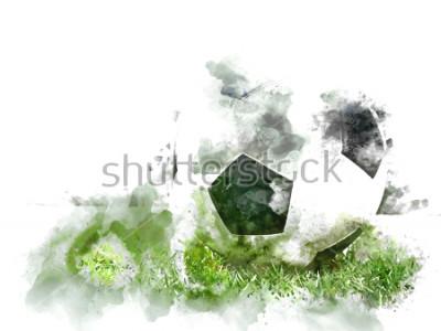 Fototapeta Przetwarza kolorowy futbol na zielonej trawie na akwarela ilustracyjny obraz tła.