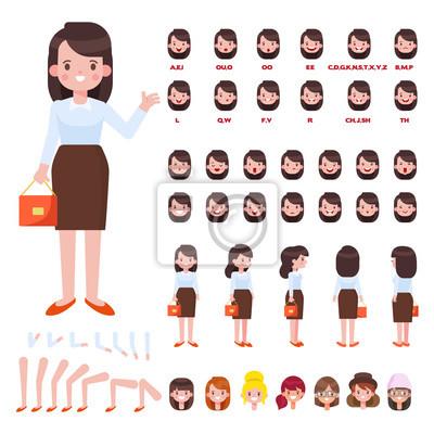 Fototapeta Przód Bok Tył Widok 34 Animowanej Postaci Biznes Kobieta