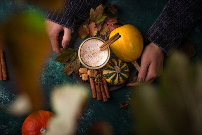 Fototapeta Pumpkin latte, hot autumn drink