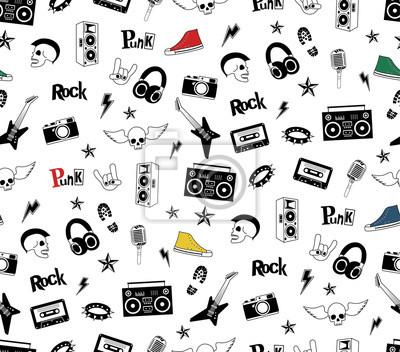 Fototapeta Punk Rock Bez Szwu Wzór Na Białym Tle Rock And Roll Bazgroły