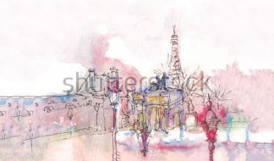 Fototapeta Punkt orientacyjny Paryża z akwarelą w deszczowy dzień - stary widok muzeum z wieżą Eiffla w tle. Akwarela szyk. Panorama paryska. Paryska akwarela panorama. Elegancki krajobraz