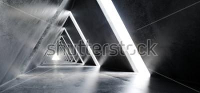 Fototapeta Puste długie światło polerowanego betonu nowoczesne Sci-Fi futurystyczny trójkąt w kształcie budowy tunelu Korytarz ilustracja renderowania 3D