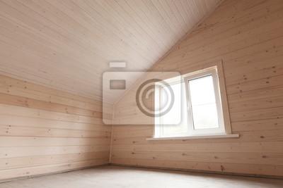 Puste Nowe Drewniane Wnętrze Pokoju Na Poddaszu Fototapeta