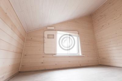 Puste Wnętrze Pokoju Na Poddaszu Nowe Drewniane ściany Fototapeta