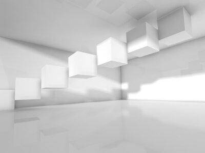 Fototapeta Pusty biały architektura, 3 d ilustracja