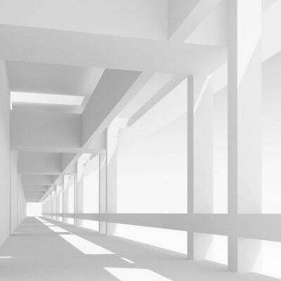 Fototapeta Pusty biały korytarz perspektywa, ilustracji 3d