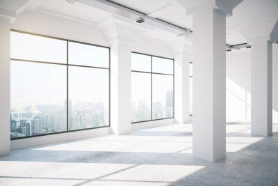 Fototapeta Pusty biały loft wnętrze z dużymi oknami, 3d