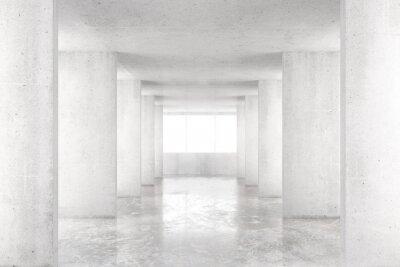 Fototapeta Pusty pokój z betonowych ścian, podłogi i betonu dużym oknem, 3