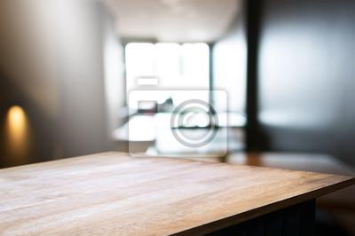 Fototapeta Pusty Stolik Z Przodu Rozmycie Kawiarni Restauracji Tła Obraz