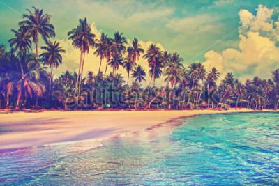 Fototapeta Rajski dom natury, morza i hotelu na tropikalnej plaży.