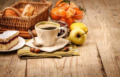 Fototapeta Rano śniadanie z kawą i owoców